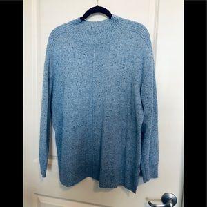 Karen Scott tunic length soft blue sweater